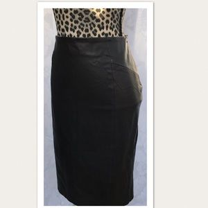 New Zara Black Faux Leather Pencil Skirt